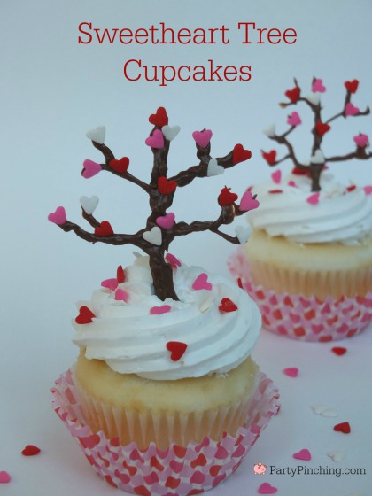 Valentine's Day cupcake, easy Valentine's Day dessert, Valentine tree, heart tree, cute food