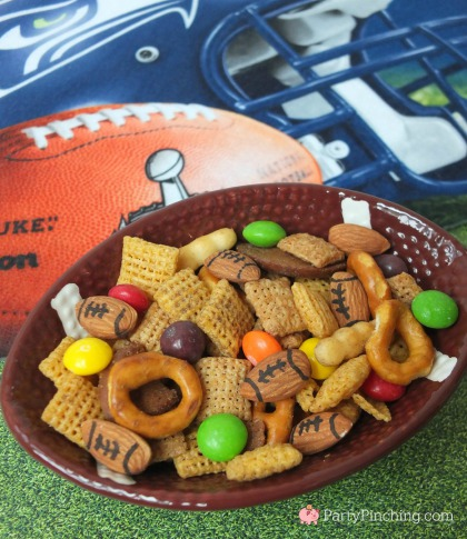 seahawks chex mix, super bowl chex mix, football chex mix