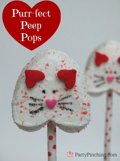 Kitten pops Valentine's day, Valentine Peeps, Heart Peeps, easy valentines day desserts for kids, valentine party ideas for classroom
