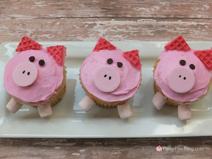pig cupcakes, barnyard party ideas, farm party ideas, pig party, easy cupcakes for kids, kid friendly pig cupcakes, cute pigs