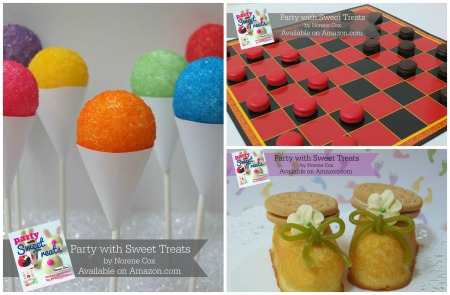 Snow cone cake pop, peanut butter checkers, Twinkie Toes, Party with Sweet Treats book by Norene Cox, Party Pinching, edible crafting, cute food, easy desserts for kids