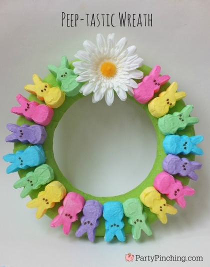 Peep Easter wreath, easy Peep Easter bunny decoration, Easter door wreath, fun Easter for kids