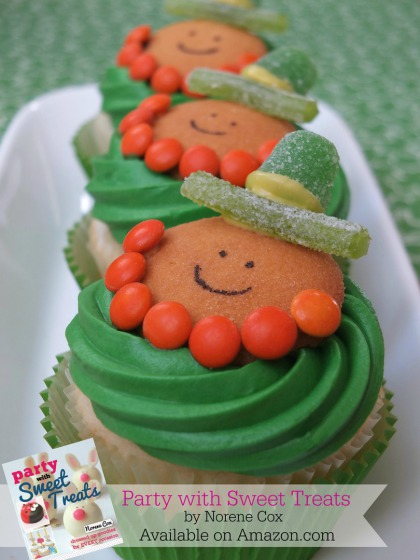 Leprechaun cupcakes, easy St. Patrick's Day cupcakes, St. Patrick's day dessert ideas,  Party with Sweet Treats book by Norene Cox