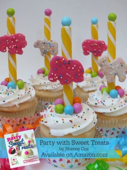 Circus Animal cookie cupcakes, birthday cupcake ideas,  Party with Sweet Treats book by Norene Cox