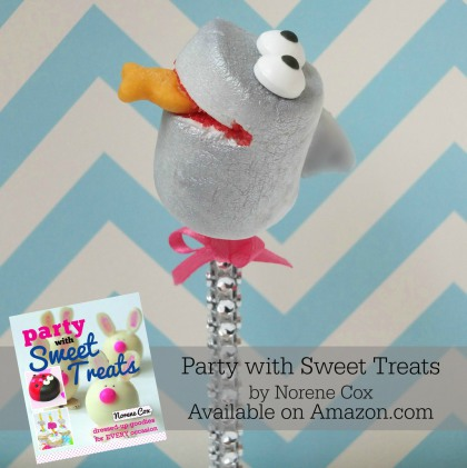 Shark marshmallow pop, Shark Tank Barbara Corcoran inspired shark pop,  Party with Sweet Treats book by Norene Cox