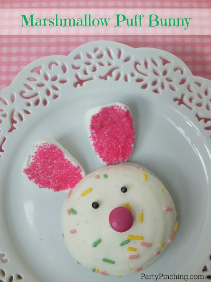 Marshmallow puff bunny, Little Debbie Marshmallow Puffs, PartyPinching.com,, Spring dessert ideas