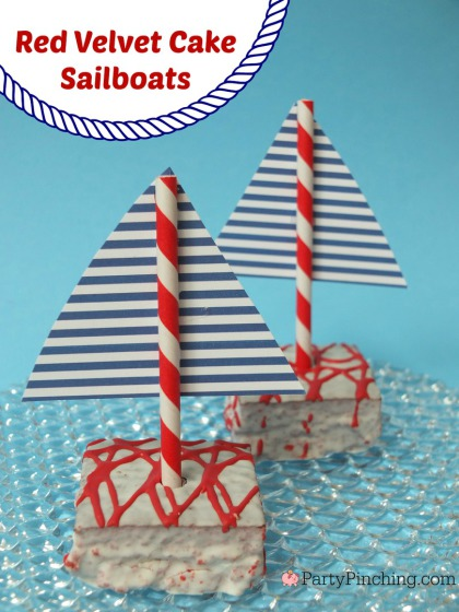 Red Velvet Sailboat Cakes, Little Debbie Red Velvet Cakes, PartyPinching.com,, Spring dessert ideas