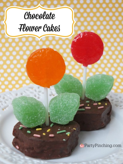 Chocoate Flower Cakes, Little Debbie Chocolate Easter Basket cakes,  PartyPinching.com,, Spring dessert ideas