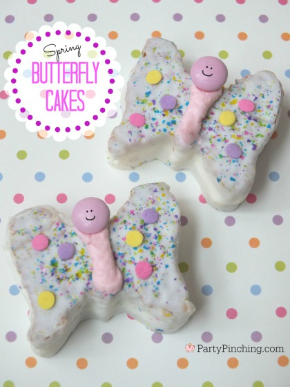 Little Debbie Butterfly Cakes, Spring treats, easy Easter dessert for kids, cute food, Party Pinching