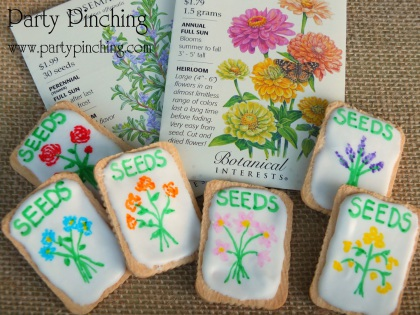 Garden seed packet cookies, flower cookies, garden party ideas, garden desserts