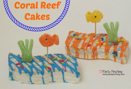 Little Debbie Coral Reef Cakes, cute fish cakes, cute summer cakes, beach cookies, easy summer dessert ideas, beach theme party, summer party ideas, under the sea party ideas, goldfish cake