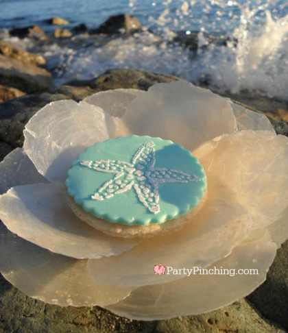 stenciled cookie, beach cookie, seashell cookie, shell cookie, beach theme party, cute cookie, cute food