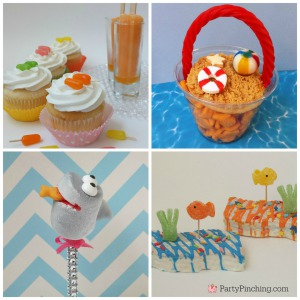 Beach treats, summer treats, summer party, beach party, PartyPinching.com, cute food, edible crafts, kid friendly food