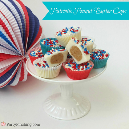 patriotic peanut butter cups, easy 4th of July dessert ideas, white chocolate peanut butter cups, party pinching, tablespoon, cute food, 4th of July picnic food