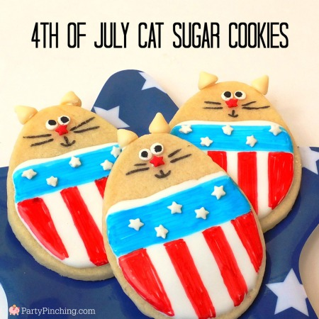 4th of July cookie, cat cookie, cute cookie, 4th of July party ideas, 4th of July food ideas, cat theme party, Party Pinching, Tablespoon.com