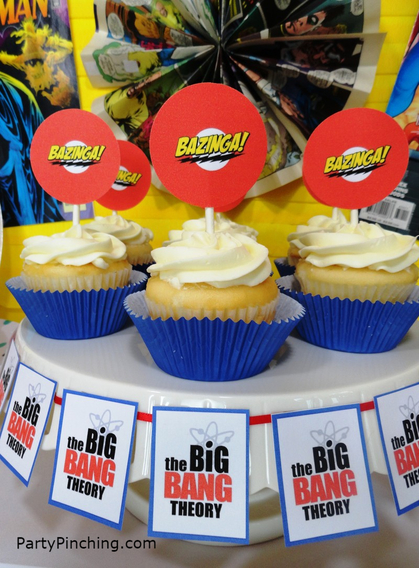 Big Bang Theory Party, Bazinga, Bazinga cupcakes, comic-con, comiccon international