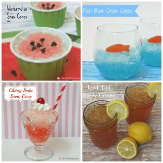 cute snow cones, iced tea snow cones, iced tea recipe, homemade snow cones, watermelon snow cones, fish bowl snow cones, cute food, party pinching