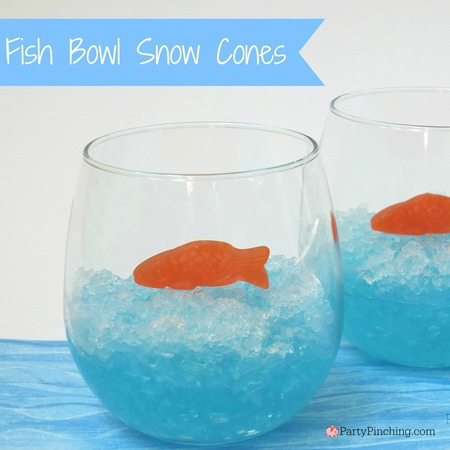 snow cone ideas, cute snow cones, fish bowl snow cones, summer snow cones, homemade snow cones