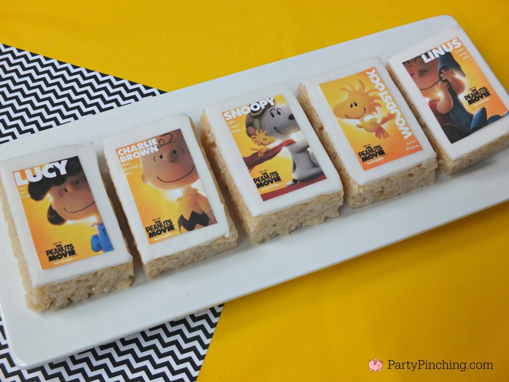 Peanuts Movie Rice Krispie Treats, The Peanuts Movie, Peanuts movie party, Snoopy cookies, Charlie Brown party, Snoopy inspired party, Linus and Lucy, Blue Sky Studios, Party Pinching, Norene Cox