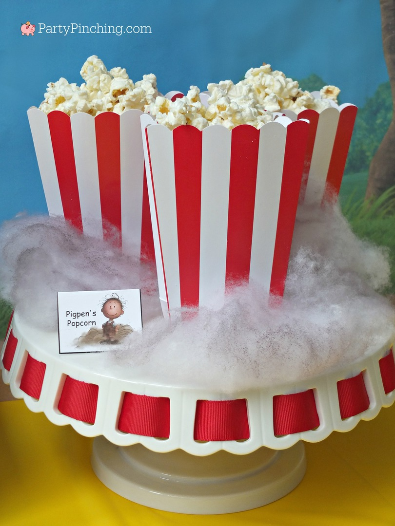 Pigpen's Popcorn, The Peanuts Movie, Peanuts movie party, Snoopy cookies, Charlie Brown party, Snoopy inspired party, Linus and Lucy, Blue Sky Studios, Party Pinching, Norene Cox, Pig Pen