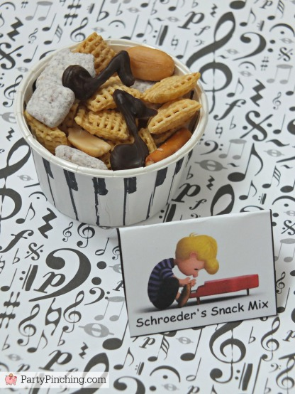 Schroeder's Snack Mix, The Peanuts Movie, Peanuts movie party, Snoopy cookies, Charlie Brown party, Snoopy inspired party, Linus and Lucy, Blue Sky Studios, Party Pinching, Norene Cox