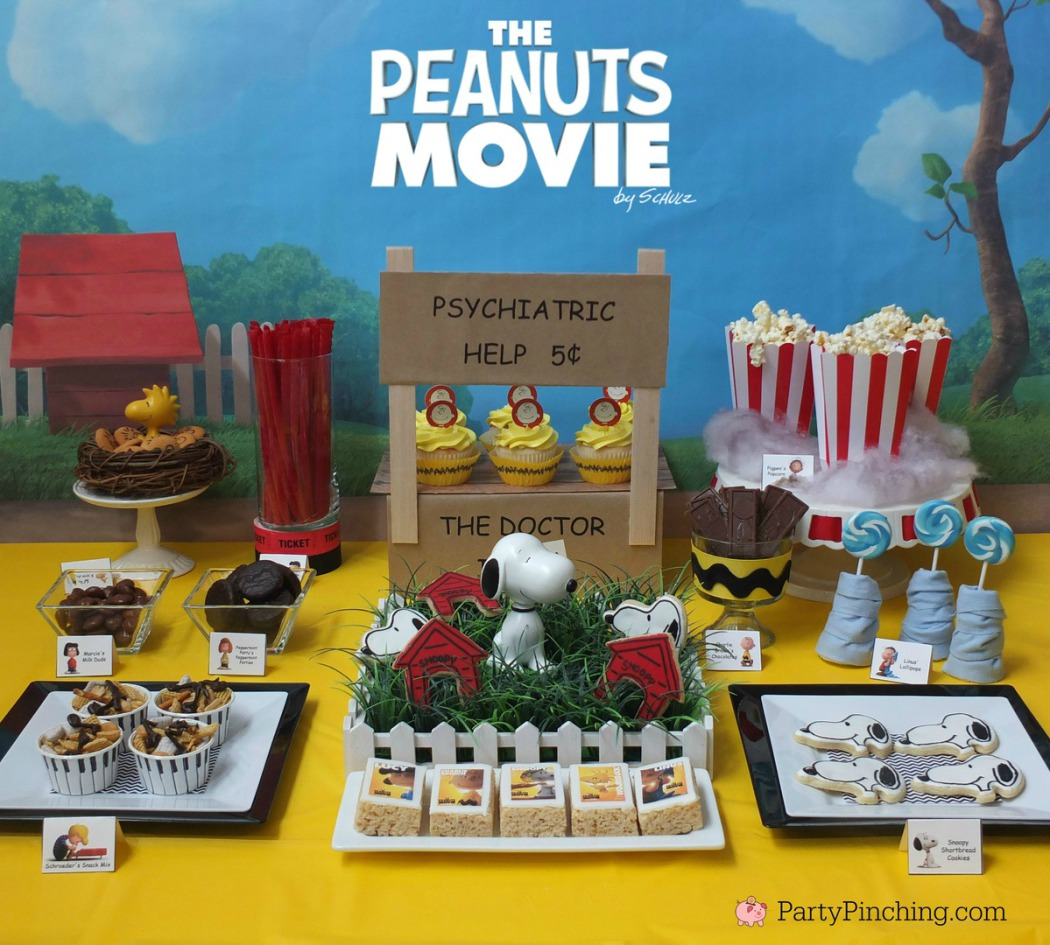 Peanuts Movie party easy dessert ideas Charlie Brown cupcakes Snoopy