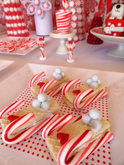 cookie sleds, wafer cookies, wafer cookie sleds, candy cane sleds, candy cane cookies
