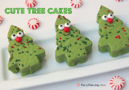 Little Debbie Red Velvet Christmas Tree Cakes, Cute Christmas tree cake, Easy Christmas dessert ideas for kids, party pinching, cute food