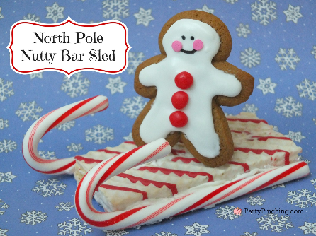 Little Debbie North Pole Nutty Bars, Christmas cookie sled, easy Christmas dessert ideas for kids, no-bake Christmas treats, candy cane sled