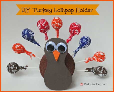 cute turkey lollipop holder craft, easy thanksgiving craft, kids table thanksgiving ideas, cute turkey thanksgiving craft,