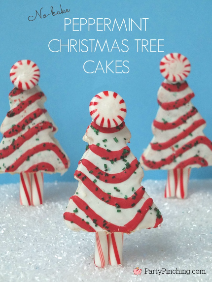 Little Debbie Christmas Tree Cakes, Peppermint Christmas Tree cakes, Easy Christmas desserts for kids, cute Christmas treats, Party Pinching, cute food
