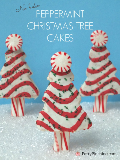 Little Debbie Christmas Tree Cakes, Peppermint Christmas Tree cakes, Easy Christmas desserts for kids