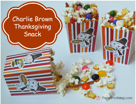 Charlie Brown Thanksgiving snack mix, Peanuts snack mix, Snoopy snack, easy Thanksgiving ideas for kids
