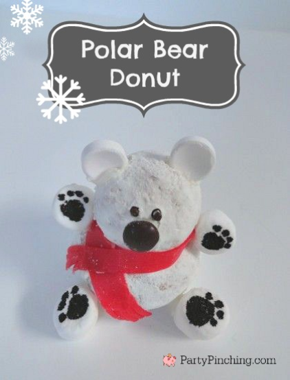 polar bear treat, polar bear donut, polar bear dessert, easy Christmas dessert for kids, cute food