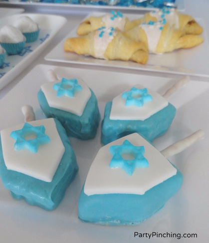 rice krispie dreidel, candy dreidel, blue and white dreidel, edible dreidel, craft dreidel, hanukkah craft, hanukkah dessert, cute dreidel