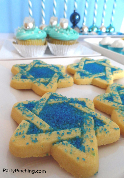 star of david cookie, sugar cookie, hanukkah cookie, blue cookie