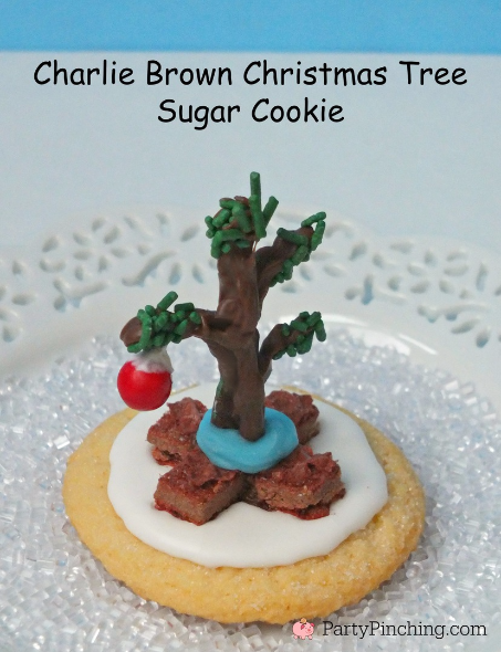 Charlie Brown Christmas tree sugar cookie, Charlie Brown Christmas party, Charlie Brown Christmas food, Charlie Brown Christmas cupcakes, Snoopy Gingerbread Doghouse, Snoopy Cookies, Charlie Brownie