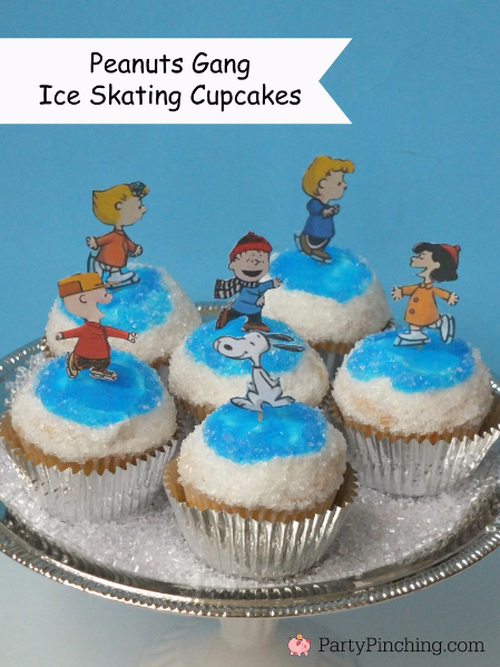 Peanuts Gang Ice Skating Cupcakes, Charlie Brown Christmas party, Charlie Brown Christmas food, Charlie Brown Christmas cupcakes, Snoopy Gingerbread Doghouse, Snoopy Cookies, Charlie Brownie