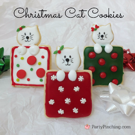 Christmas cat cookies, Christmas present cookies, cute Christmas cookies