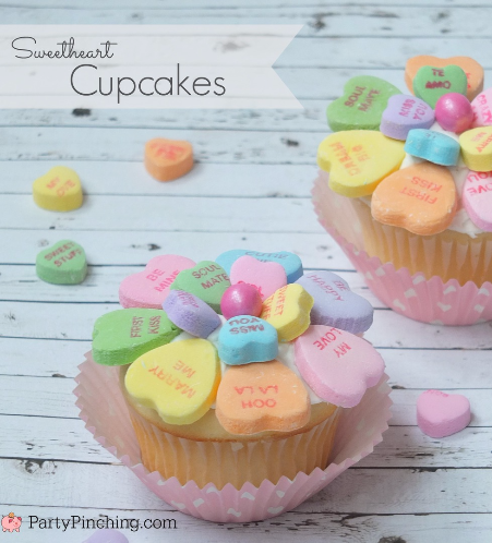 Sweetheart Conversation Heart Cupcakes, easy Valentine's Day dessert ideas for kids classroom party, cute Valentine's Day ideas