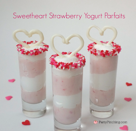 Strawberry Yogurt Parfaits, cute food, Valentine's Day idea light dessert, easy Valentine's Day dessert