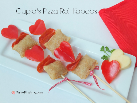 Pizza roll kabobs, Valentine's day pizza, cute food ideas for kids on Valentine's Day