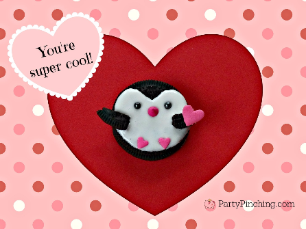 Penguin Oreo Cookies, cute valentine's day cookies, no-bake cookies, Valentine's Day kid party ideas, Valentine classroom party ideas