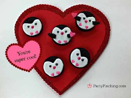 Penguin Oreo Cookies, cute valentine's day cookies, no-bake cookies, Valentine's Day kid party ideas, cute food