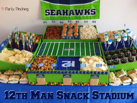 snack stadium, best snack stadium ideas, Seahawks snack stadium Super Bowl Snack Stadium food ideas