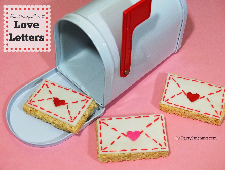 Rice Krispie Treat Love Letters, Valentine's Day treats, easy Valentine's day desserts for kids, Valentines day party classroom ideas for kids, fun food