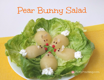 pear bunny salad, Easter brunch ideas, easy Easter treat ideas for kids, cute Easter dessert ideas,