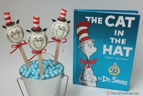 Cat in the Hat Cookie Pops, Dr. Seuss Cookies, Dr. Seuss Birthday, cute food, Dr. Seuss birthday party ideas