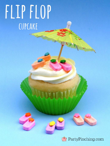 flip flop cupcakes, pez candy cupcakes, beach party ideas, summer food, summer cupcakes, cute food
