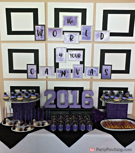 the world is your canvas, graduation open house ideas, art graduation, art party, grad party, graduation party decorations, grad party food, inexpensive grad party pideas